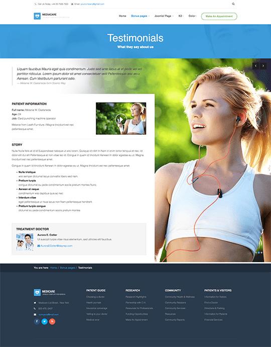 Joomla template health care and hospital testimonials - JA Medicare