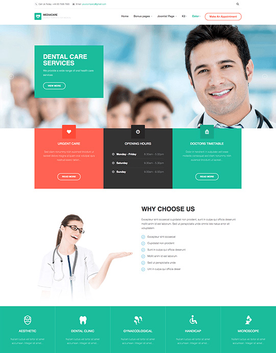 joomla template for health care and health care center - JA Medicare