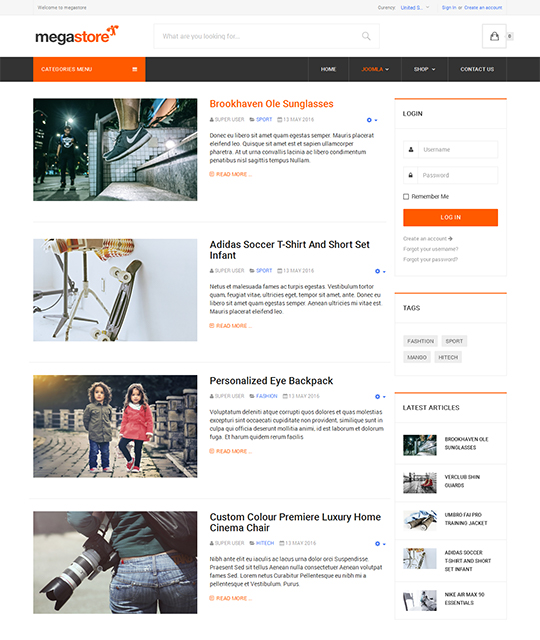 Ecommerce Shop Joomla Template blog layout - JA Megastore