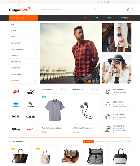 Ecommerce Shop Joomla Template homepage - JA Megastore