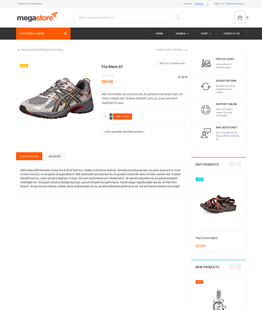 Ecommerce Shop Joomla Template shoe product page - JA Megastore