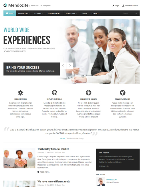 Business corporate Joomla template blue theme - JA Mendozite