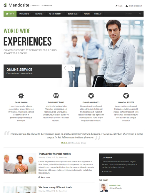 Business corporate Joomla template green theme - JA Mendozite