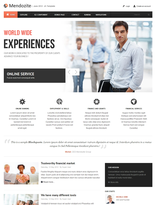 Business corporate Joomla template - JA Mendozite