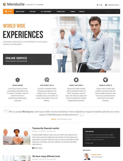 Business corporate Joomla template orange theme - JA Mendozite
