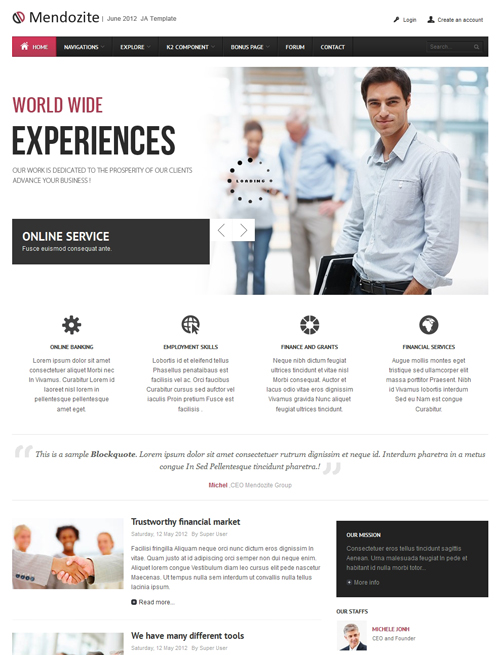 Business corporate Joomla template pink theme - JA Mendozite