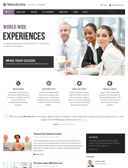 Business corporate Joomla template violet theme - JA Mendozite