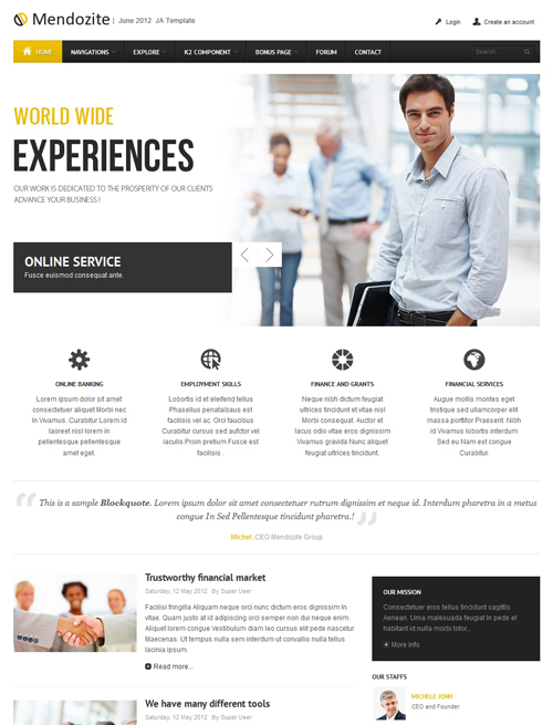 Business corporate Joomla template yellow theme - JA Mendozite