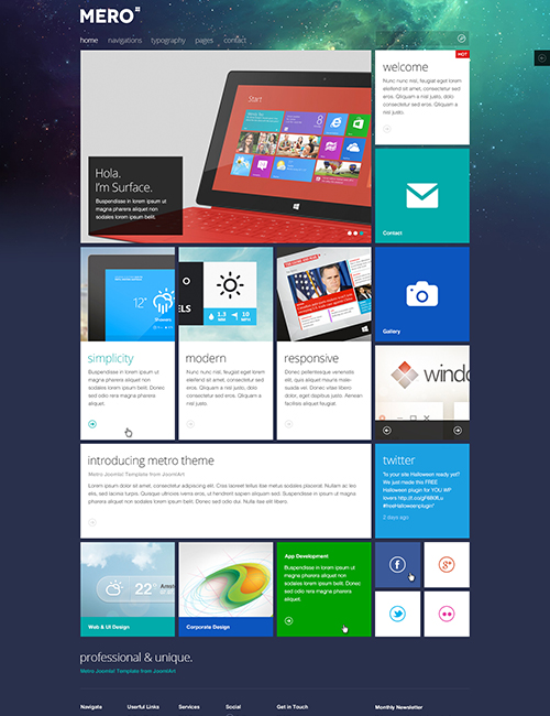 Responsive business Joomla template - JA Mero abstract theme