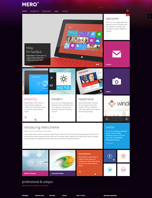 Responsive business Joomla template - JA Mero violet theme