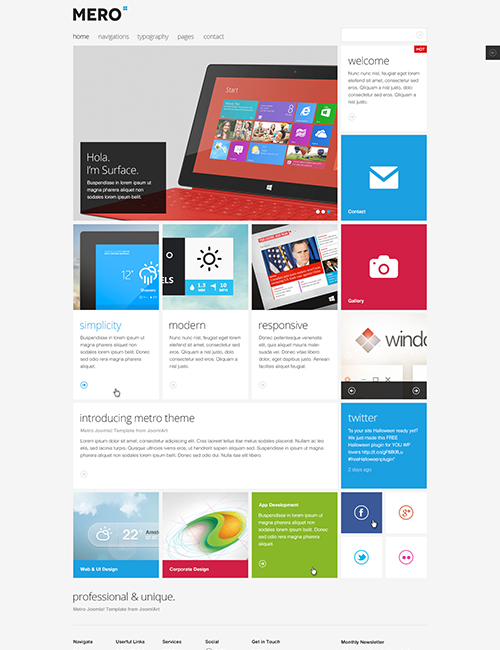 Responsive business Joomla template - JA Mero light theme