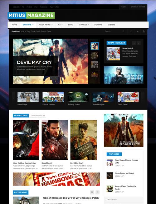 Joomla gaming magazine Joomla template - JA Mitius