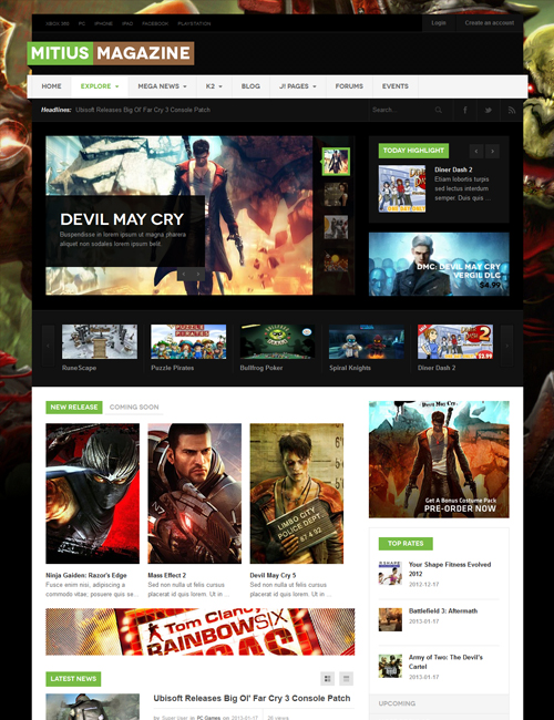 Game news Joomla template green theme - JA Mitius