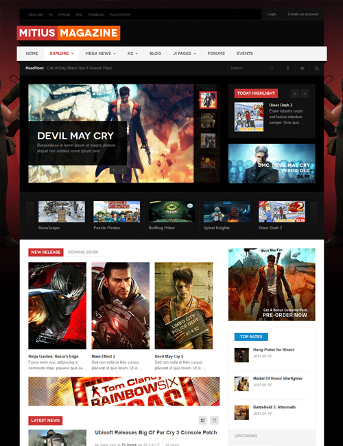 responsive joomla template for game review - JA Mitius