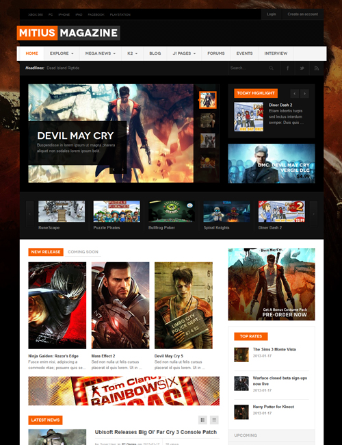 Joomla template for gaming magazine website - JA Mitius