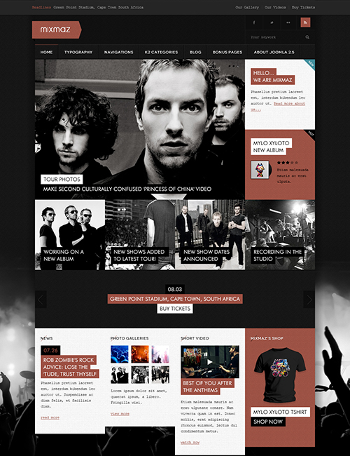 Responsive Joomla Blog and eCommerce template - JA Mixmaz dark brown theme
