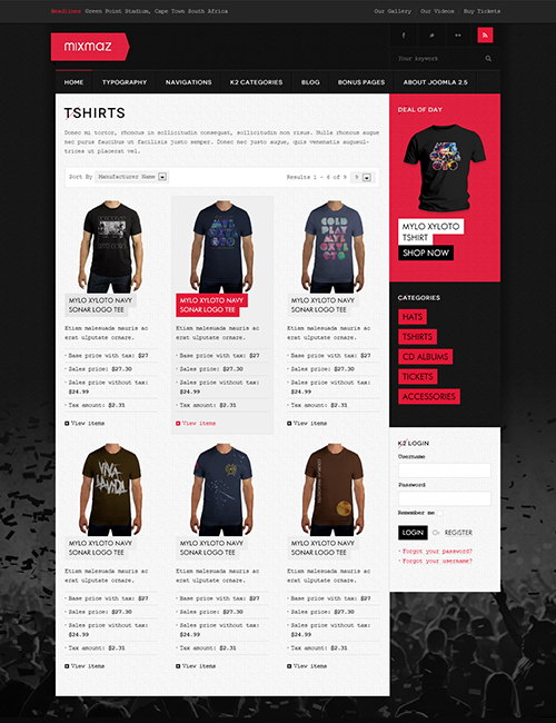 Responsive Joomla Blog and eCommerce template - JA Mixmaz category view