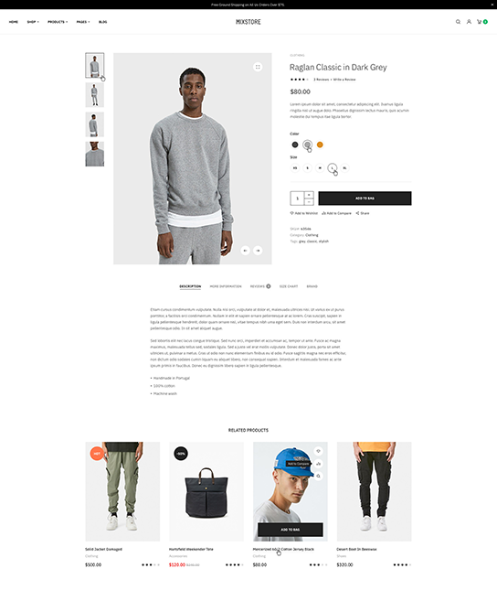 eCommerce joomla template product detail page - JA Mixstore