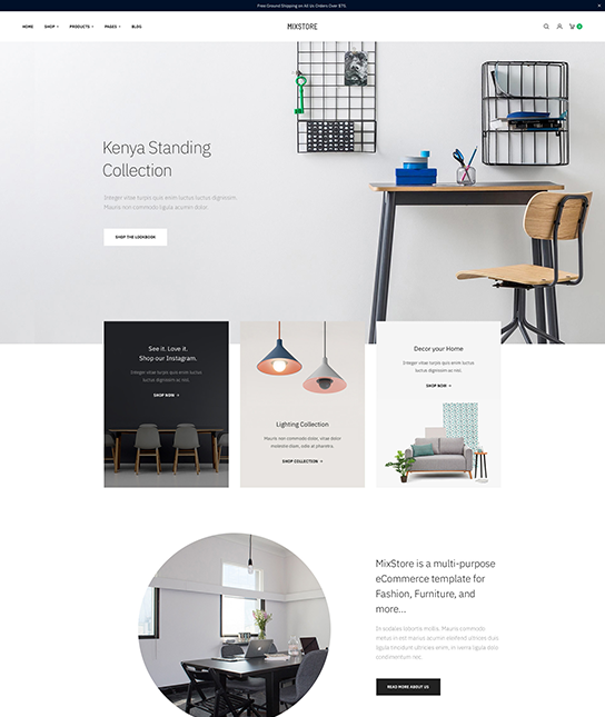ecommerce joomla template for furniture website - JA Mixstore
