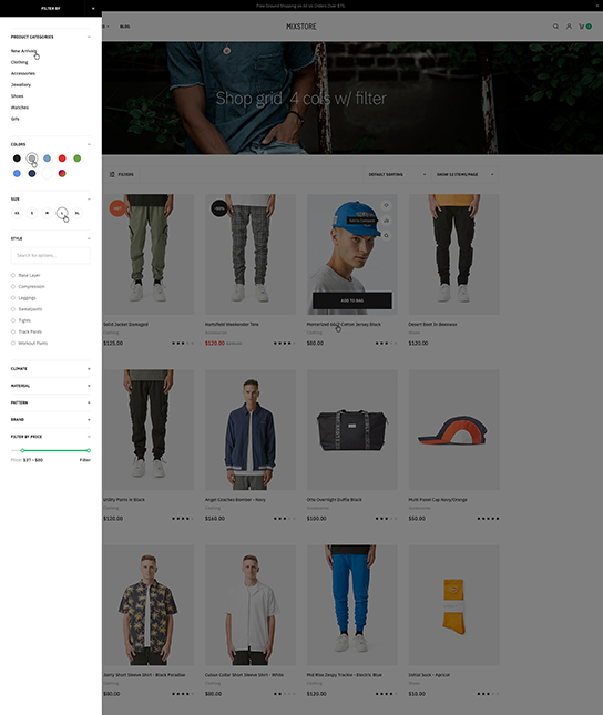Multipurpose eCommerce joomla template sticky product filter - JA Mixstore