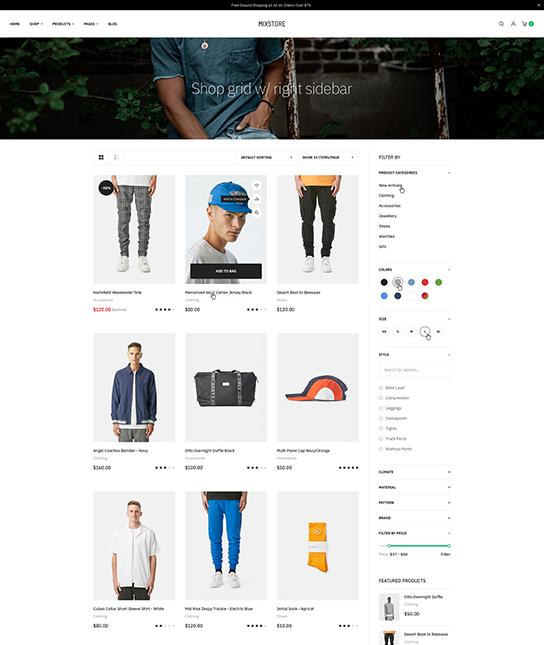 eCommerce joomla template product filter - JA Mixstore