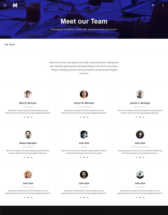 team page of Joomla template for blog - JA Mono