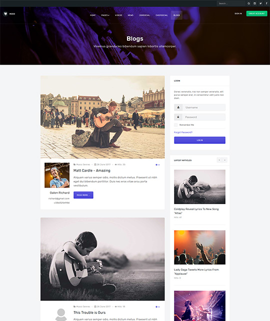 Community Social Network Joomla Template blog layout - JA Mood