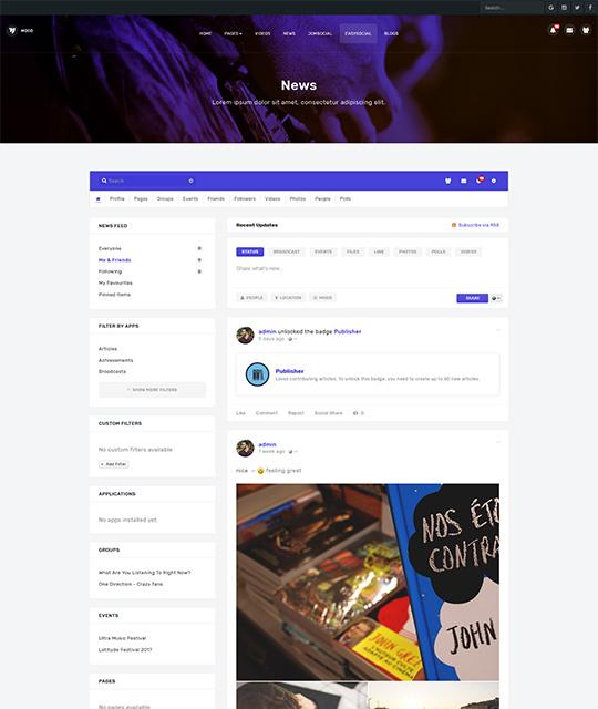 Community Social Network Joomla Template easysocial - JA Mood