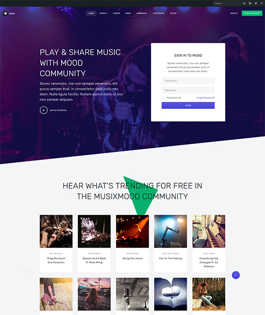 Community Social Network Joomla Template homepage layout - JA Mood