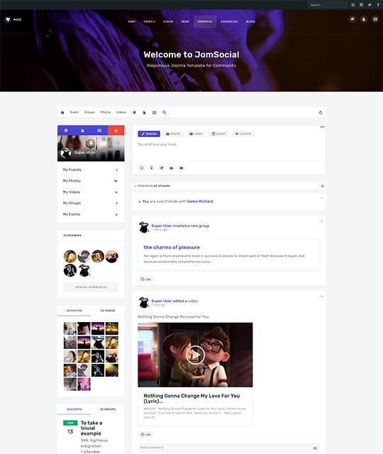 Community Social Network Joomla Template jomsocial - JA Mood