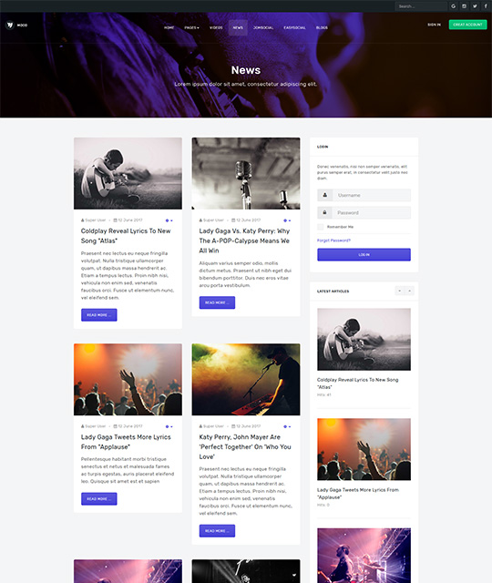 Community Social Network Joomla Template news blog layout - JA Mood