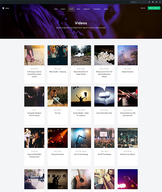 Community Social Network Joomla Template video layout - JA Mood