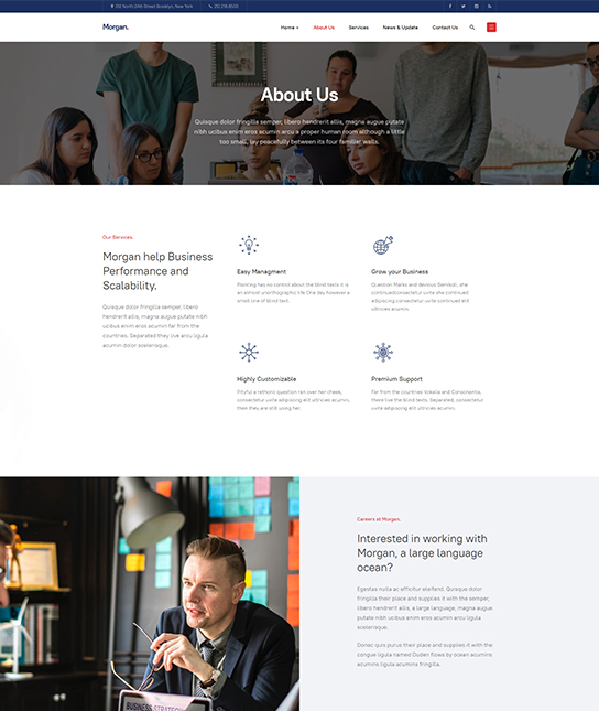 about us joomla template for business - JA Morgan