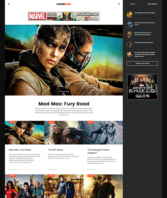 Movie Multimedia News Magazine Joomla Template gallery layout - JA Moviemax