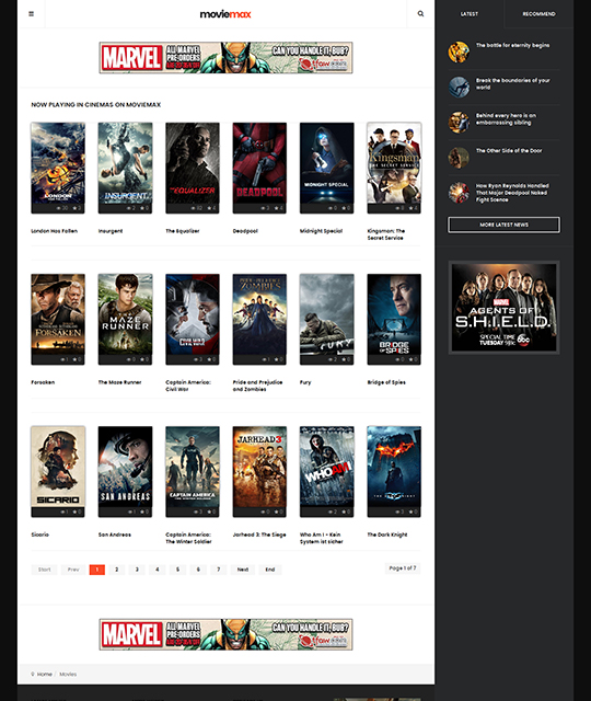 Movie Multimedia News Magazine Joomla Template movie list - JA Moviemax