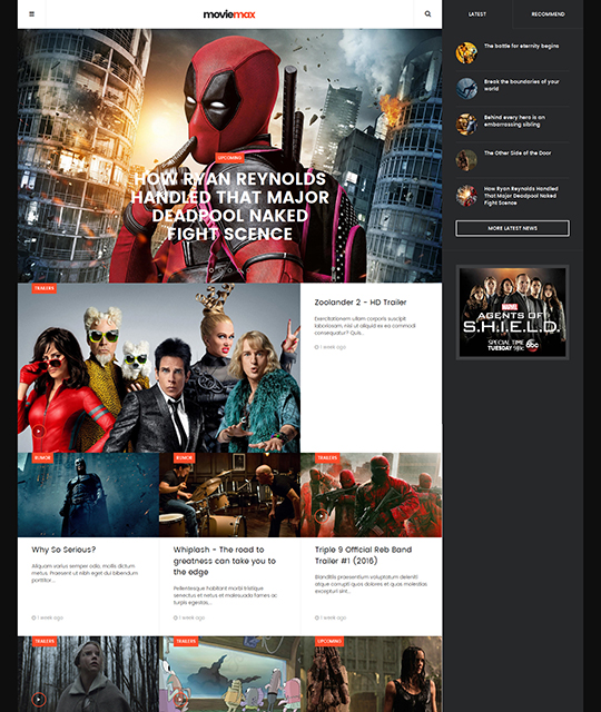 Movie Multimedia News Magazine Joomla Template homepage - JA Moviemax
