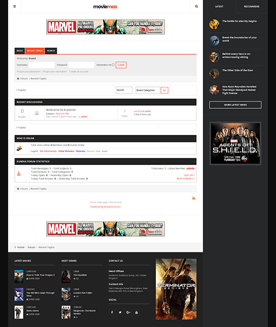 Movie Multimedia News Magazine Joomla Template kunena forum theme - JA Moviemax