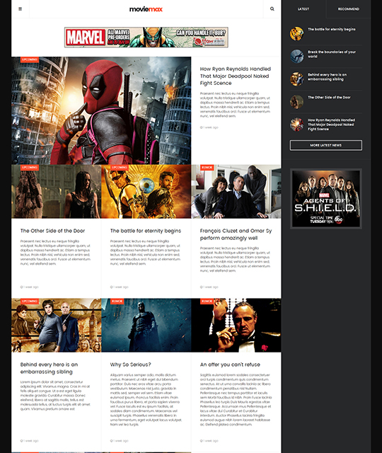 Movie Multimedia News Magazine Joomla Template news layout - JA Moviemax