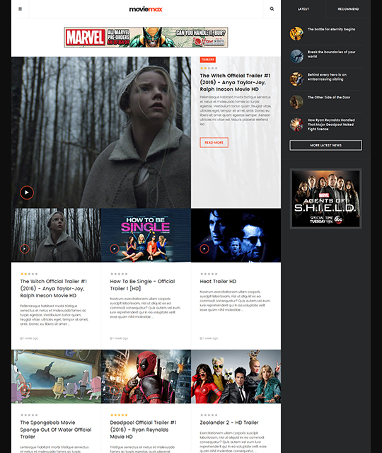Movie Multimedia News Magazine Joomla Template trailers layout - JA Moviemax