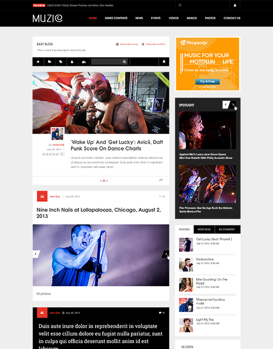 Easyblog Joomla template for music websites - JA Muzic
