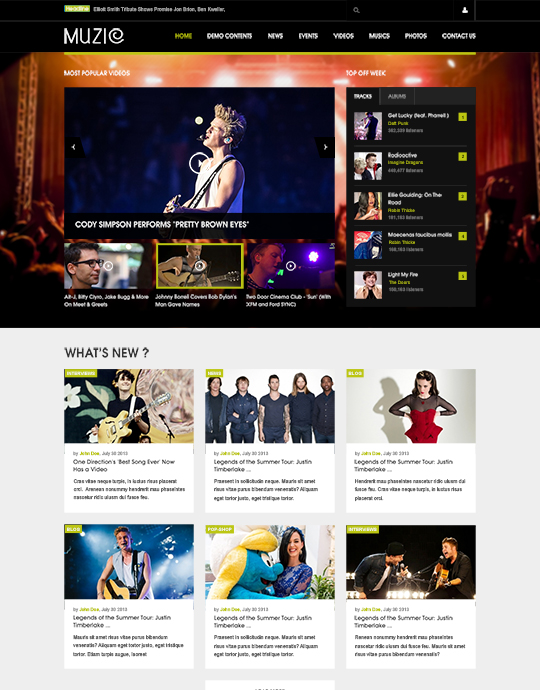 Music Joomla template green theme - JA Muzic