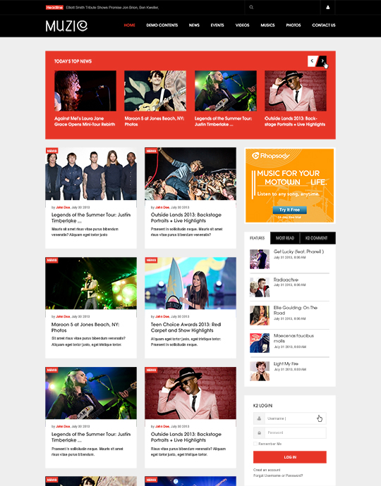 Joomla music template news page - JA Muzic