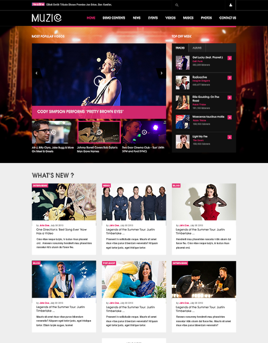 Joomla template for music and movies - JA Muzic