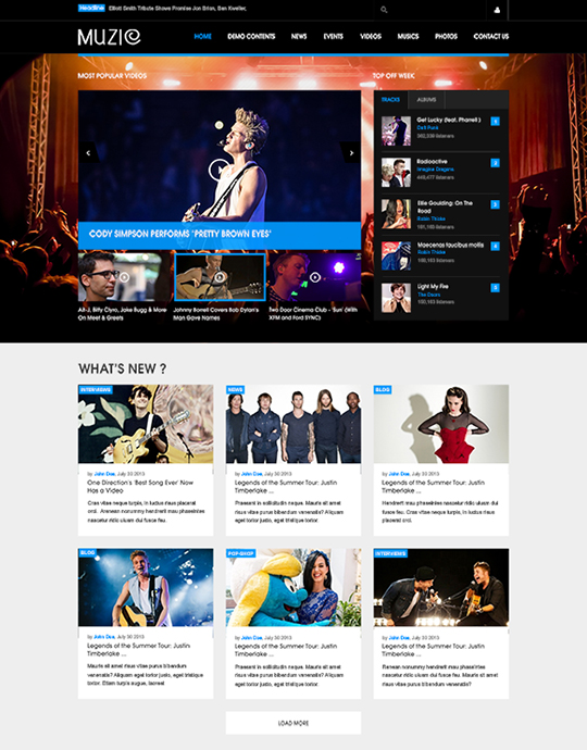 blue theme Joomla template for movies - JA Muzic