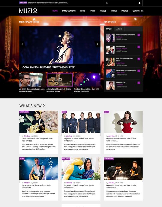Joomla template for music violet theme - JA Muzic