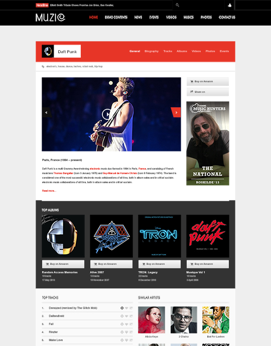 Music Jooomla template author page - JA Muzic