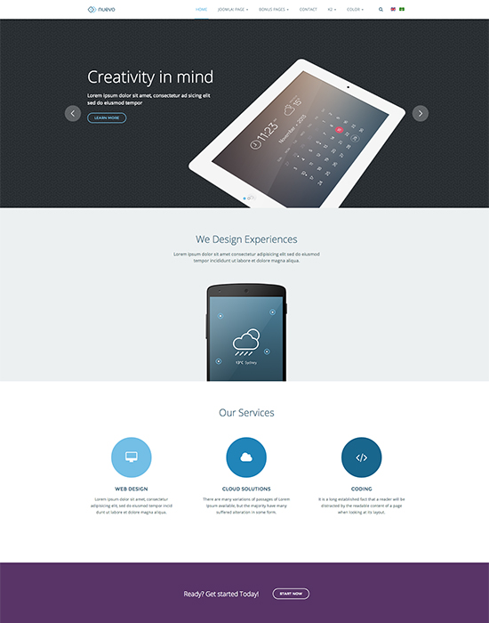 Joomla template for app and service landing page - JA Nuevo