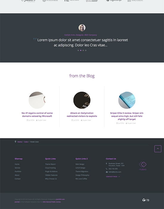 joomla template for service website violet theme - JA Nuevo