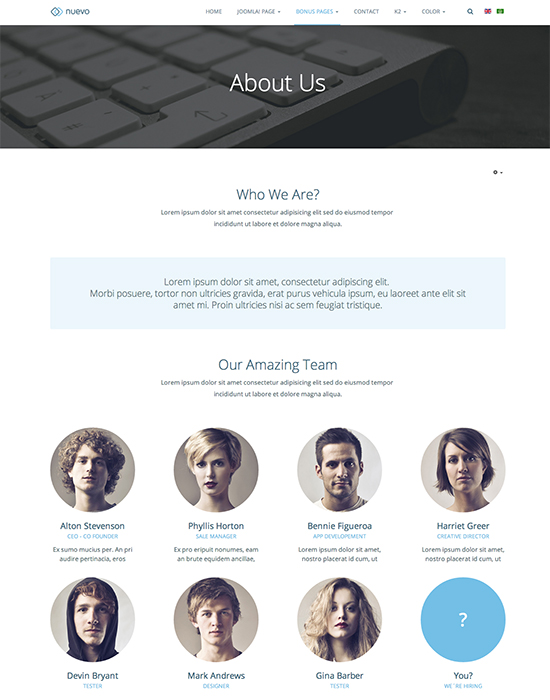 Services Joomla template about us page - JA Nuevo