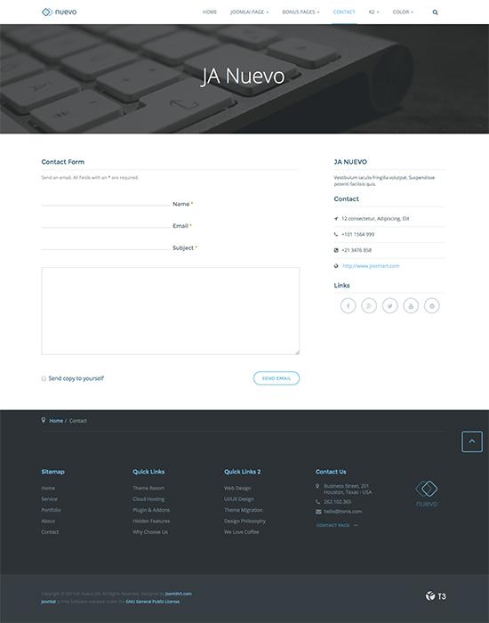 service joomla template contact page - JA Nuevo
